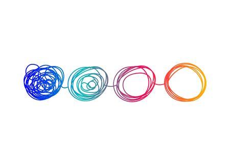 Transformar logo, icono de cambio, desarrollo empresarial de evolución. Ilustración vectorial Logos