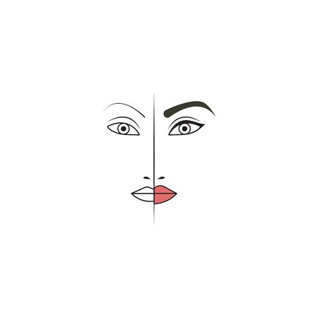 Eyebrow, eye and lip tattoo before and after. Makeup artist icon, makeup logo. Vector illustration