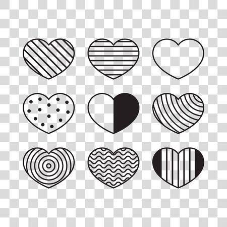 Set of hearts with geometric pattern Stock fotó