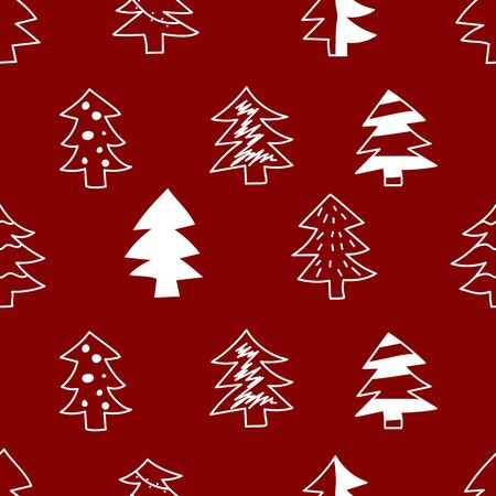 Seamless pattern with hand drawn christmas trees Stockfoto