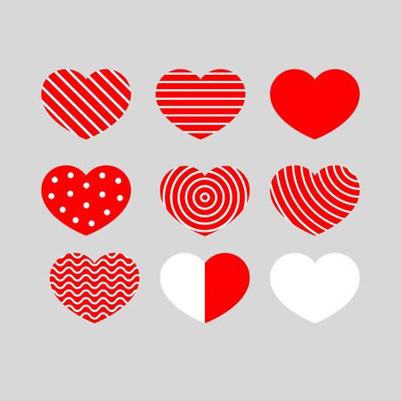 Set of red hearts with geometric pattern