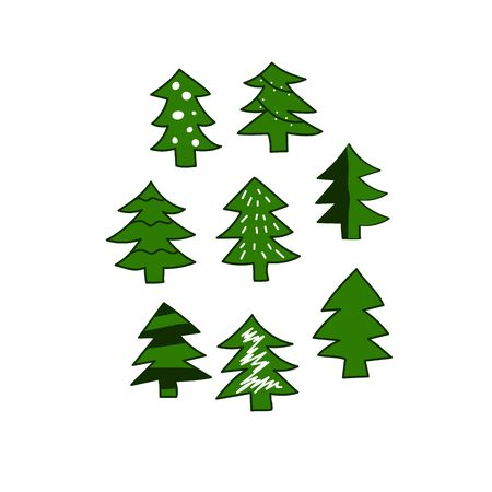 green hand drawn christmas tree