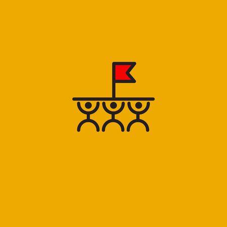 Teamwork icon, win flag