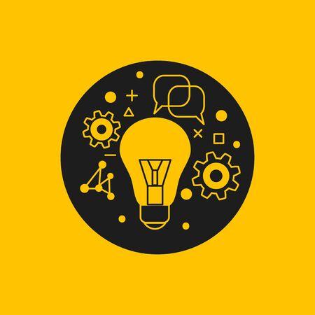 Science icon, lamp, gears Stock Illustratie