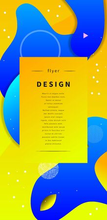 blue and yellow label, set of vertical gradient frames, background with geometric shapes, amoeba. Vector illustration