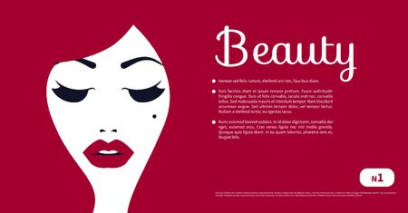 Gift coupon of beauty salon, voucher, flyer with beautiful girl, certificate. Vector design