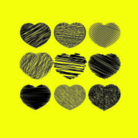 Grunge black unique hearts isolated on yellow background. Abstract shapes of hearts. Vector collection Foto de archivo - 130627488