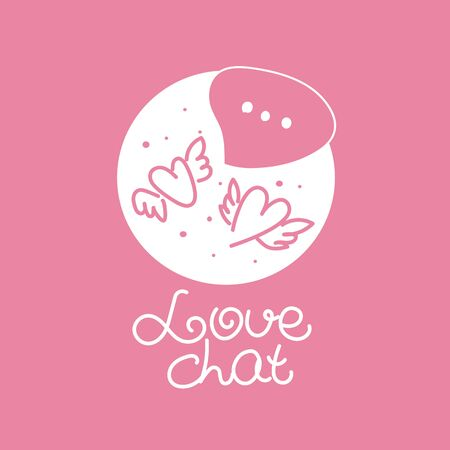 Love chat illustration, sketch two hearts with wings and bubble with text. Online communication, chatting. Vector illustration