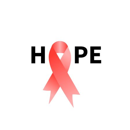 Breast cancer pink ribbon, word hope, solidaryty sign. Vector element Иллюстрация