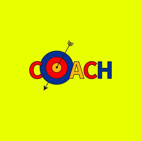 word coach with target, idea coaching, isolated icon. Vector illustration Banque d'images - 130627493