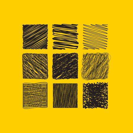 grunge hatched set of squares Иллюстрация