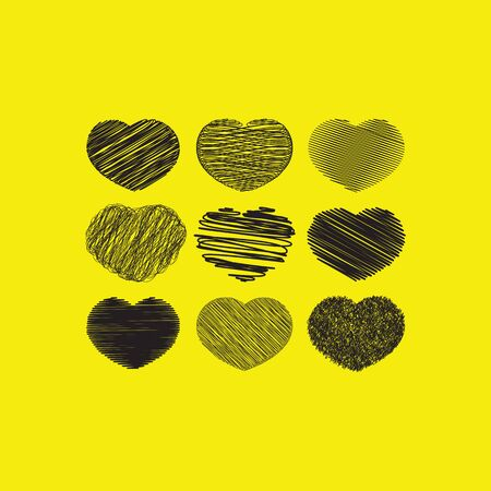 Grunge black unique hearts Иллюстрация