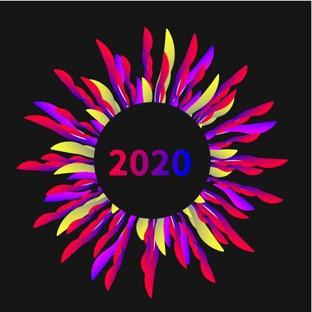 Color sunburst circle frame 2020