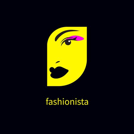 Fashionista icon, beautiful female face with makeup, beauty salon Çizim