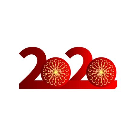 2020 red festive numbers with golden snowflakes, element for Christmas, New Year cover, brochure, poster. Vector design Banque d'images - 131565586