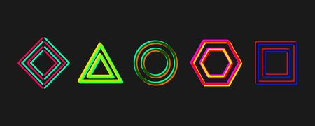 Set of geometric elements, shapes with glitch effect. Vector logo template collection Иллюстрация