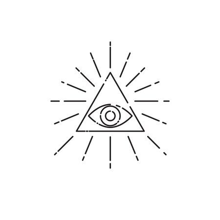 Tattoo eye in triangle with rays, line symbol of masons, vector linear esoteric sign