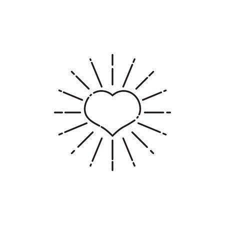 Tattoo heart with rays, line art, vector hipster retro black heart isolated, design element