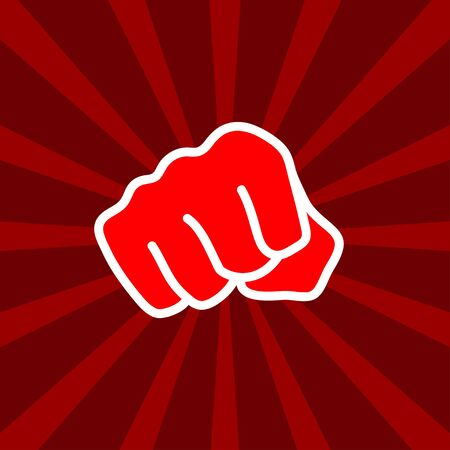 Fight club  red fists icon, boxing, power sign. Vector design