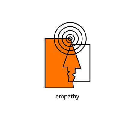 psychology , empathy icon, psychotherapy sign, two man face and  wavelength, psychologist symbol Banque d'images - 132790985