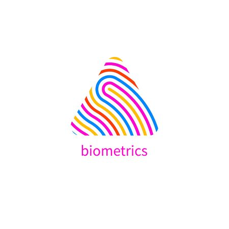 fingerprint, finger print triangle icon, biometric digital security identity pattern, id vector pattern Banque d'images - 132791038