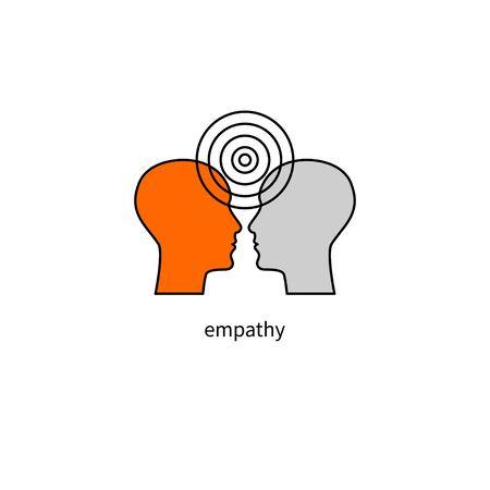 psicología, icono de empatía, signo de psicoterapia, cara y longitud de onda de dos hombres, símbolo del psicólogo