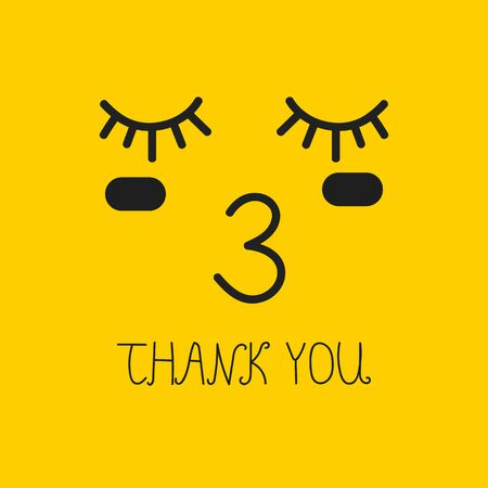 thank you card with kiss, yellow vector emoticon Banque d'images - 132611383