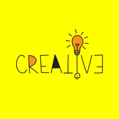 Creative word, creative vector lettering with lamp, bulblamp, business idea, concept brainstorme Banque d'images - 132612140
