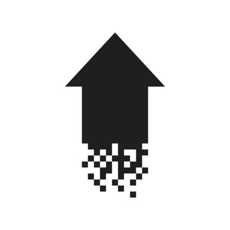 arrow up pixel black icon, digital vector black  , technology symbol, abstract delivery sign Banque d'images - 132791447