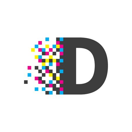 d letter, digital  , vector color technology symbol, letter with square pixel, tech element, digital icon Banque d'images - 132791494