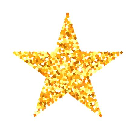Star for christmas, golden glittering star isolated on white background, vector gold xmas object