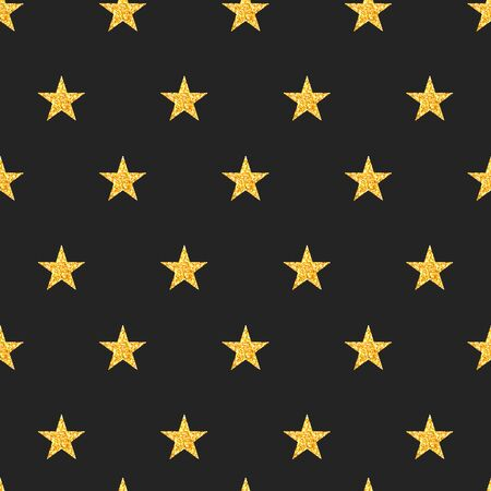 Star seamless pattern, black christmas  background with golden stars, luxury xmas print, vector holiday card, kids paper wrapping Ilustração