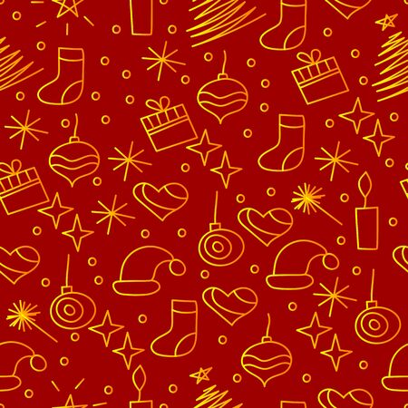 christmas bacrground, seamless pattern with christmas hand drawn doodle elements for wrapping paper, vector red and gold holiday wallpaper