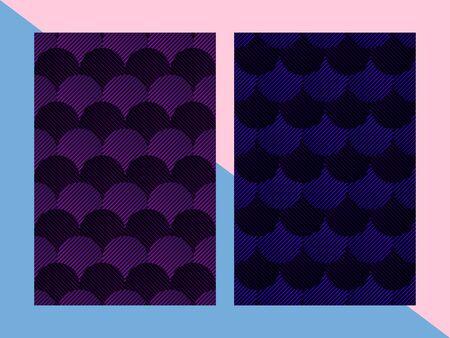 cover for brochure, geometric minimal design, line minimalistic template for catalog, flyer, vector blue mermaid pattern Foto de archivo - 134537343
