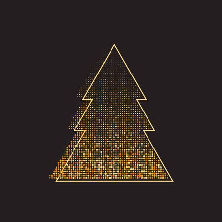 christmas tree, xmas banner, abstract tree with dots, vector holiday element