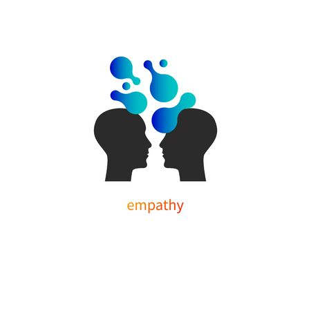Psychology icon, psychotherapy  vector profiles of two men, empathy sign