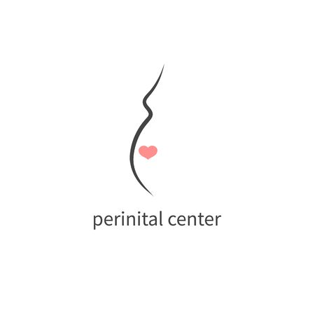 pregnancy minimal  with heart, vector pregnant icon
