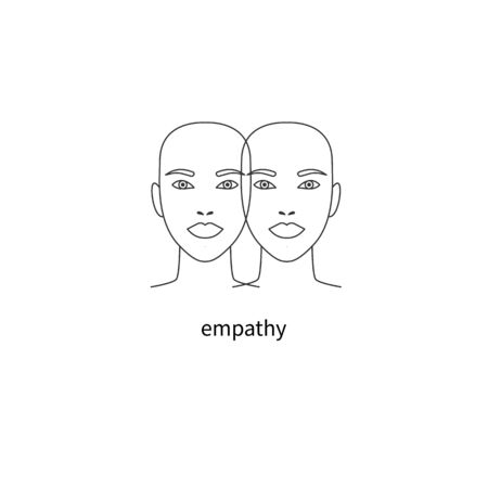 Empathy   double face icon, psychology vector sign