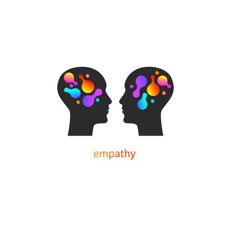 Psychology icon, psychotherapy   vector profiles of two men