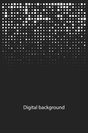 digital abstract cover with pixels, geometric background, pixels pattern, vector black and white texture Ilustração
