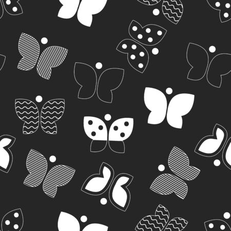 Batterfly, vector seamless pattern for textile, fabric, geometric black and white background with butterfly