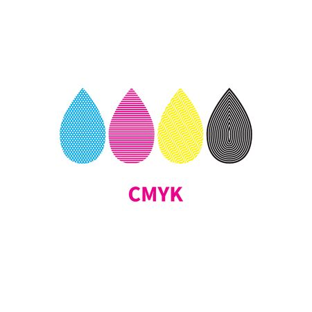 cmyk  ink drops icon, print house sign, vector illustration