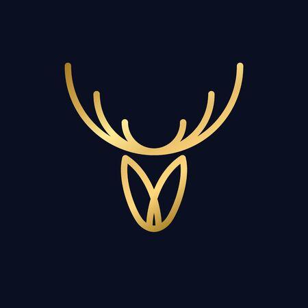 ligne de cerf or icône minimale abstraite, tête de renne, illustration vectorielle