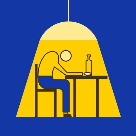 Alcoholic man sitting with bottle at table, man in depression, drunkard, vector illustration