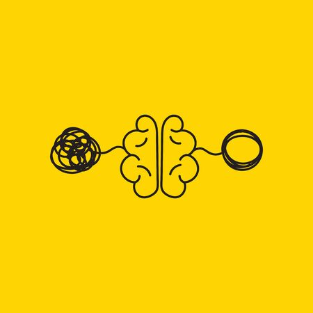 tangle and untangle, creative concept, brain activity, vector psychology sign