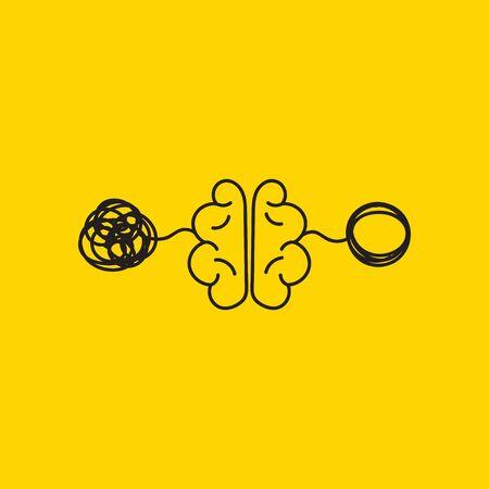 verwirren und entwirren, kreatives Konzept, Gehirnaktivität, Vektorpsychologiezeichen