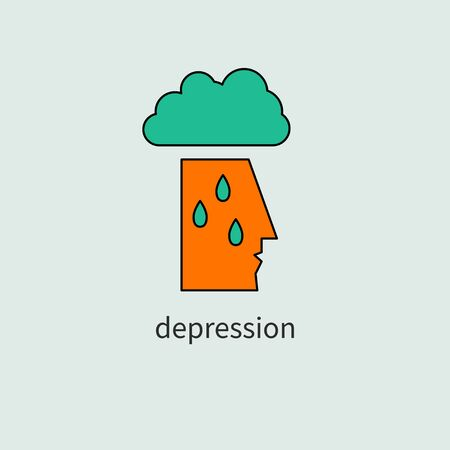 Depressed sad man, cloud and rain, depressed person crying, vector color icon