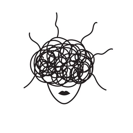 Anxiety symbol, woman in stress, concept of anxiety, upset, depressed woman, vector black line illustration Çizim
