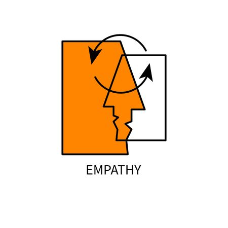 empathy logo, coach icon, two faces and arrows, psychologist sign, empathy idea, psychology concept, vector color illustration Çizim