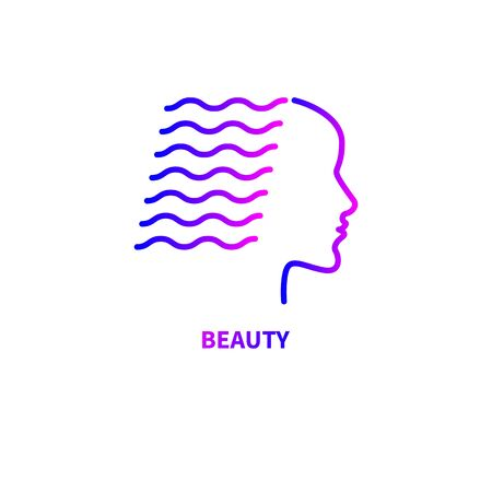 girl with long hair icon, hairstyle, fashion gradient logo, line vector sign, female profile with wavy hair Çizim